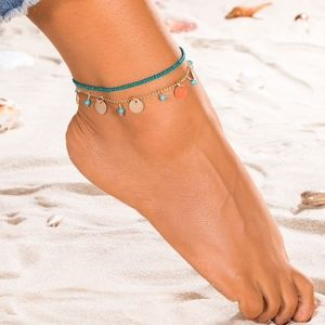 Layered Boho Beaded Coin Ankle Bracelet Anklet